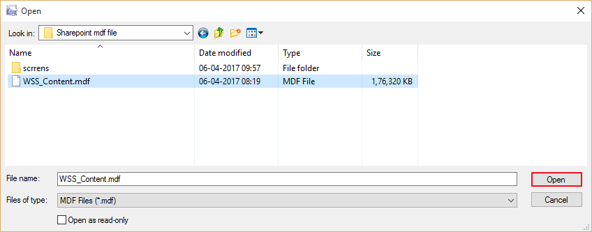 Browse corrupted or damaged sharepoint MDF file