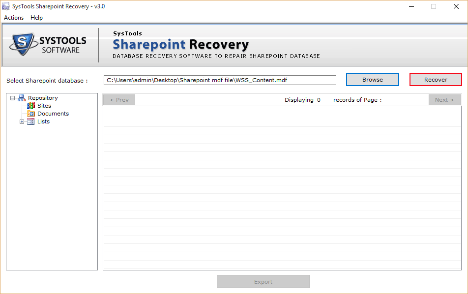 Location of SharePoint Database
