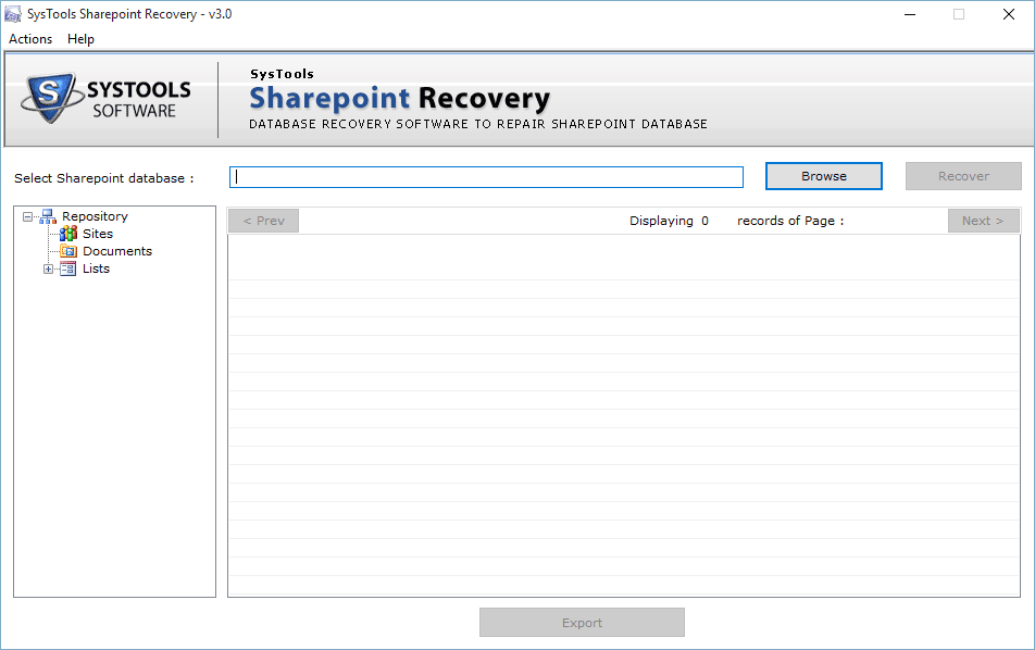 Open Sharepoint Recovery Tool from Start menu